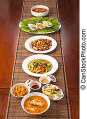 Multiple Thai food dishes