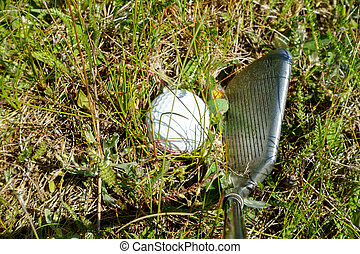 Golf Ball in the Rough - View down the shaft of a golf club...