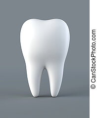3D illustration of tooth on gray background.