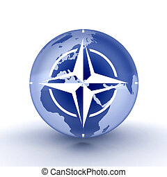 NATO and earth - Flag NATO on abstract earth (done 3d,...