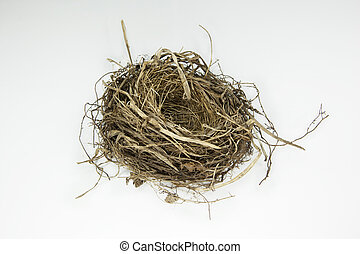 Bird nest - Empty bird nest on white background