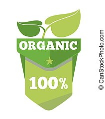 Organic natural eco label with leaves
