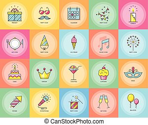 Party icons. Celebration vector illustration.