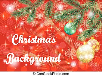 Christmas Background with Fir and Balls - Christmas Holiday...