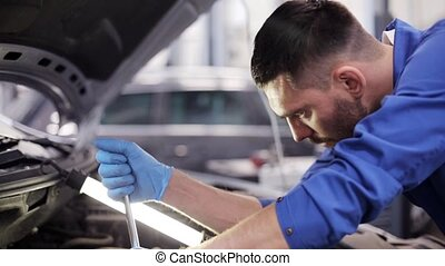 mechanic man with wrench repairing car at workshop 45 - car...