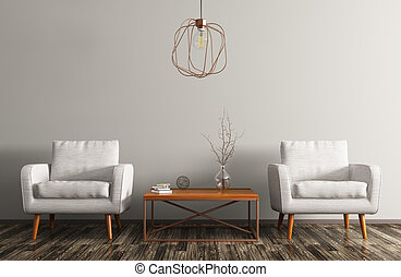 Interior with two armchairs, coffee table and lamp 3d...