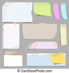 Vector set of blank note paper. Sheets of notepad for...