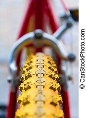 macro, détail, de, a, jaune, roue