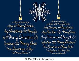 vector christmas ball with text - two vector christmas ball...