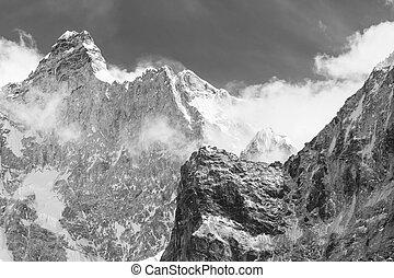Jannu - Scenic view of the Jannu peak in Kanchenjunga...