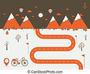 infographics Landscape background Vector illustration - Road...