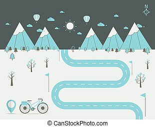 infographics Landscape background Vector illustration - Road...