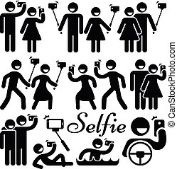 Selfie stick woman and man vector icons set. Photography...