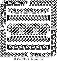 Celtic knots vector medieval seamless borders, patterns, and...