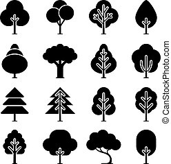 Vector black tree icons set