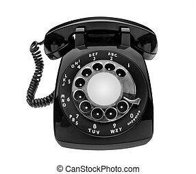 Bulbous black dial phone, isolated