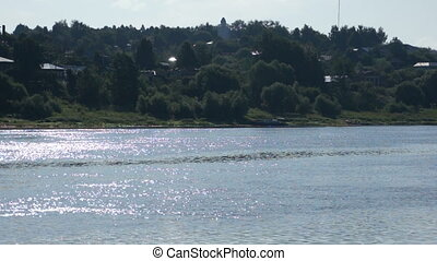 Scenic view of summer river and town - Scenic view of summer...