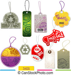 Set of vector tags