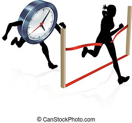 Racing Against the Clock - A woman running racing against a...