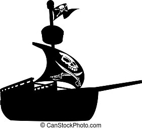 Pirate Ship Silhouette - An illustration of a silhouette...