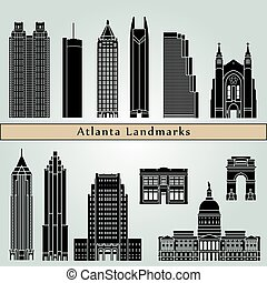 Atlanta Landmarks - Atlanta landmarks and monuments isolated...