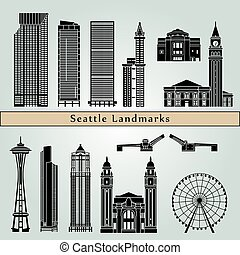 Seattle Landmarks - Seattle landmarks and monuments isolated...