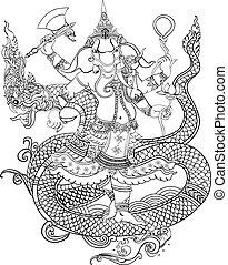 Ganesha - elephant headed god dragon of the sea