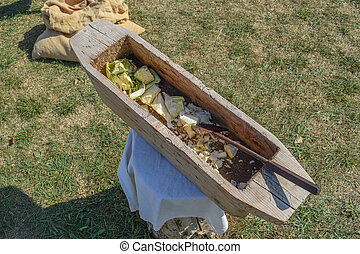 Wooden trough for cutting cabbage. Antique household items...