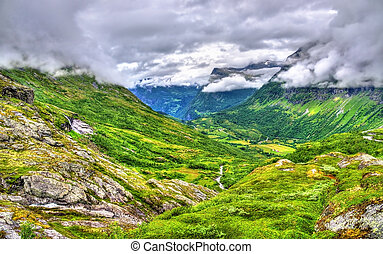 Landscape of the Geiranger valley near Dalsnibba mountain -...