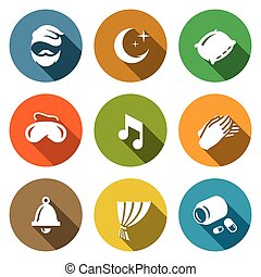 Vector Set of Sleep and Night Rest Icons. Man, Pillow, Mask, Lullaby, Palm, Clock, Curtain, Sleeping Pills.