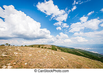 Landscape view from mountains to the Sea of Marmara -...