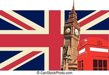 UK with Big Ben Flag - United kingdom Design with Big Ben...
