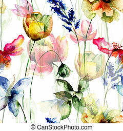 Seamless pattern with Summer flowers, watercolor...