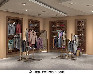 store inside full, 3d illustration