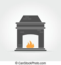 Fireplace Black Icon - Fireplace black icon with bricks and...