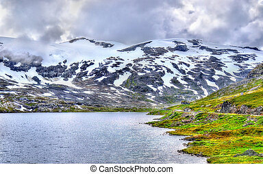 View of Djupvatnet lake lying 1016 metres above sea level -...