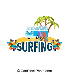 Hippie surfing poster with bus isolated vector illustration