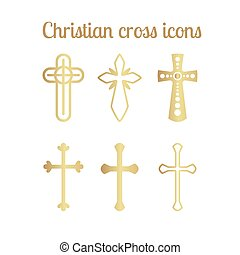Golden christian cross icons on white