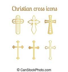 Golden christian cross icons on white - Golden christian...