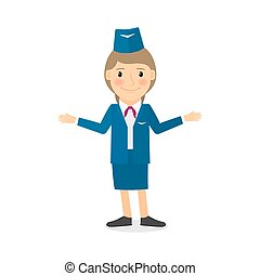 Stewardess vector character. People profession vector...