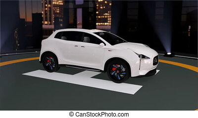 Electric SUV parking on the helipad. 3D rendering animation