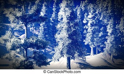 Snow covered Christmas forest in mountains 3d rendering -...