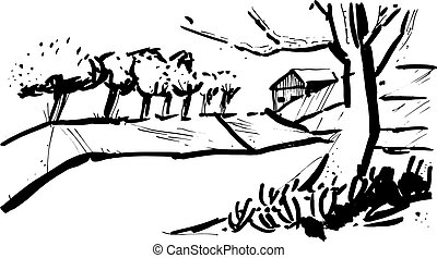 Landscape with the trees in the style of sketch art, line...