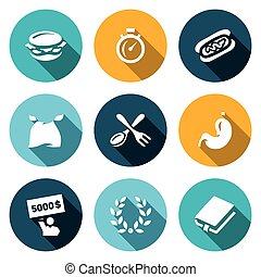 Vector Set of Speed Eating Contest Icons. Burger, Stopwatch,...