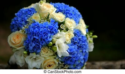 bridal bouquet of blue roses