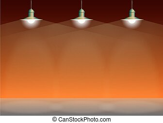 Ancient three bronze lamp hanging. Big and empty space illuminated on the orange wall.