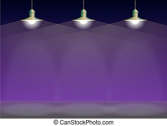 Ancient three bronze lamp hanging. Big and empty space illuminated on the purple wall.
