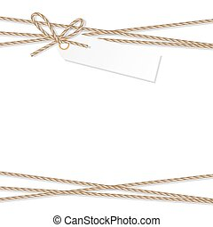 Background with rope bow and ribbons - Abstract white...
