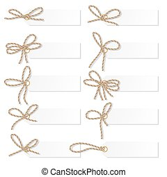 Label set with rope bows - Set of tag labels with rope...