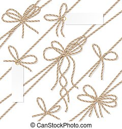 Rope bows, ribbons and labels - Set of rope bakers twine...
